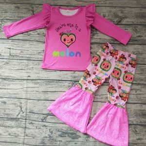Cocomelon hot pink sparkly pants set
